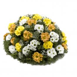 Kytice na položení barevné kopretinové chryzantémy žluté