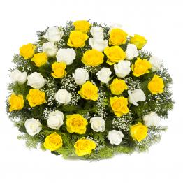 Kytice na rakev bílé a žluté růže