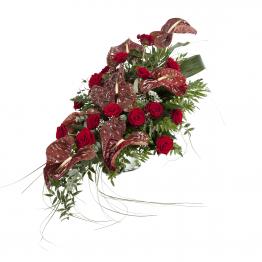 Kytice na rakev anthurie a rudé růže