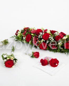 Svatební komplet z rudých růží