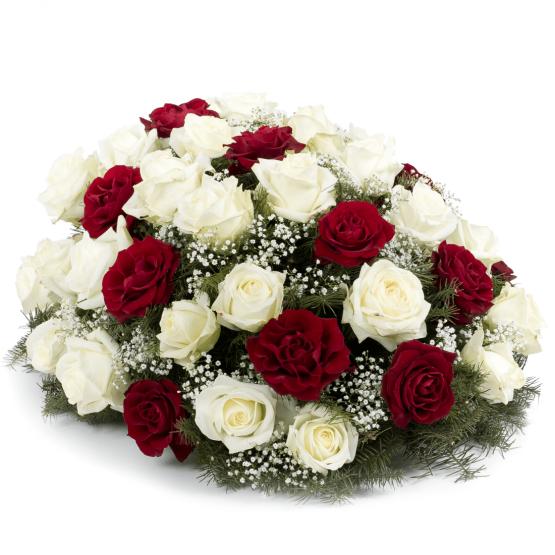 Kytice na položení bílé a rudé růže