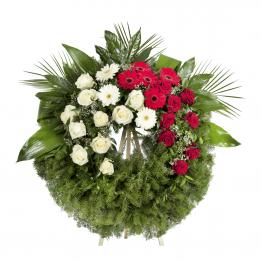 Smuteční věnec Fantasie bílé a rudé růže