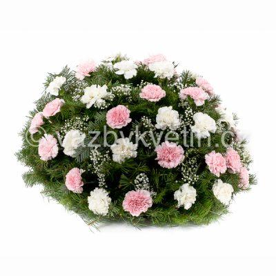 Kytice na položení bílé a růžové karafiáty