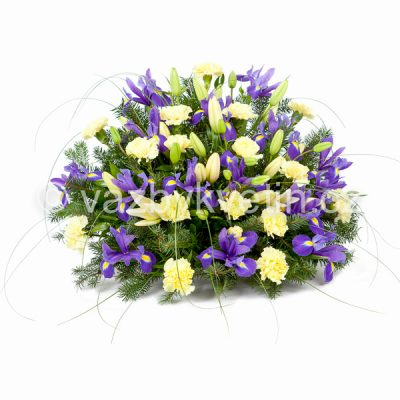 Kytice na rakev lilie, žluté karafiáty a irisy
