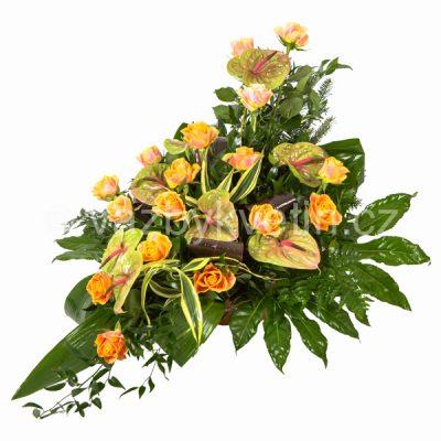 Kytice na rakev anthurie a růže