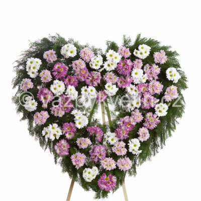 Smuteční věnec srdce kopretinové chryzantémy