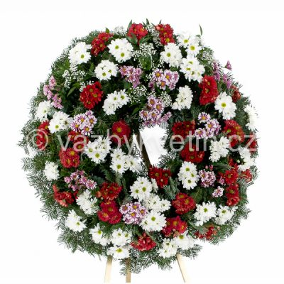 Smuteční věnec barevné kopretinové chryzantémy červené