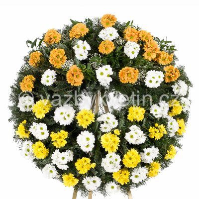 Smuteční věnec barevné kopretinové chryzantémy žluté