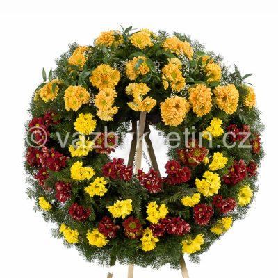 Smuteční věnec barevné kopretinové chryzantémy oranžové