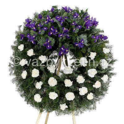 Smuteční věnec bílé karafiáty a modré irisy