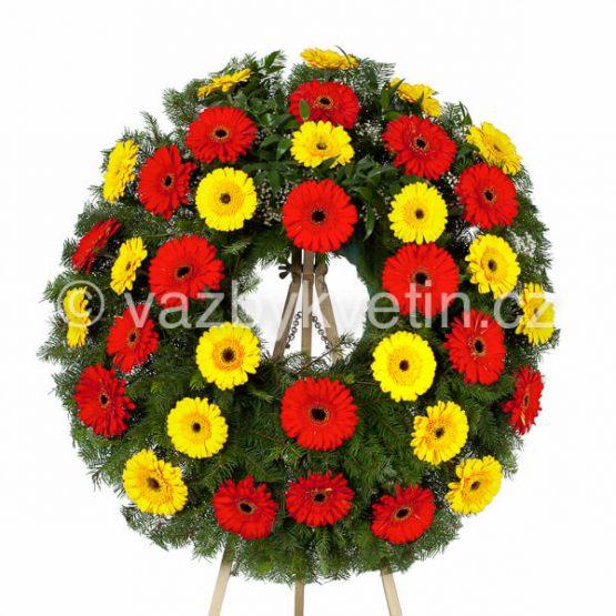 Smuteční věnec barevné gerbery červené a žluté